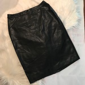 Guess Black Faux Leather Stretch Pencil Skirt